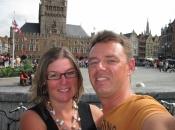 Op de grote markt in Brugge